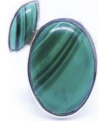 anel duas malaquitas prata 925