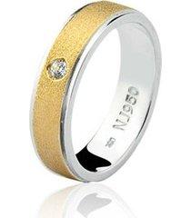 aliança mista ouro 18k e prata 925 elegance natalia joias alm-149