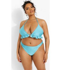 plus driehoekige tropicana bikini top met franjes, turquoise
