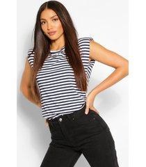 tall stripe shoulder pad jersey t-shirt, navy