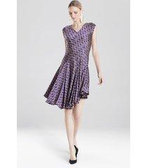 deco diamond jacquard dress, women's, purple, size 2, josie natori
