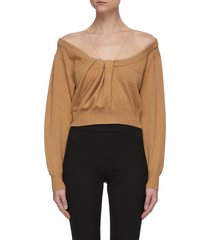 sheer panel knot detail sweater