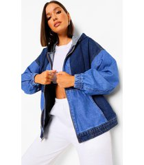 colour block denim bomberjack, blue