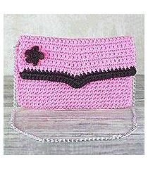 crocheted shoulder bag or clutch, 'flowering carnation' (ghana)