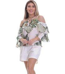 blusa clara arruda decote fivela 20495 - feminino