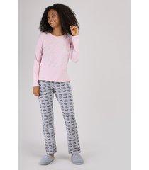 pijama feminino mulher maravilha manga longa rosa claro