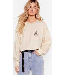 womens give 'em the finger graphic sweatshirt - sand