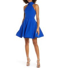 women's mac duggal halter neck fit & flare cocktail dress