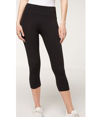 calzedonia supima cotton capri leggings woman black size s