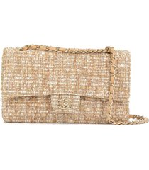 chanel pre-owned tweed double flap chain shoulder bag - yellow