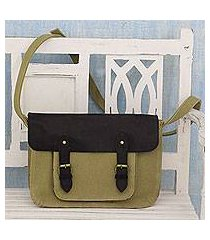 leather accent cotton messenger bag, 'casual in khaki' (india)