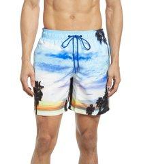 men's bugatchi men's print swim trunks, size large - blue
