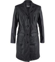 giaccone in similpelle sciancrato con collo a revers (nero) - bpc bonprix collection