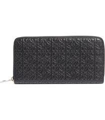 women's loewe leather zip around wallet - black