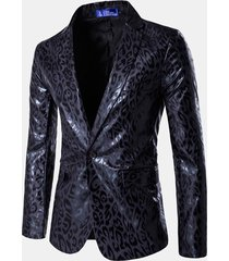 business sottile suit leopard printing wedding banquet club stage giacca da bavero da uomo