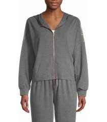 splendid women's batwing zip hoodie - heather grey - size xs