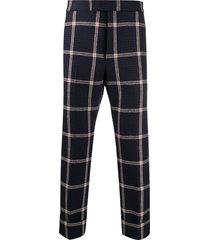 thom browne hunting tweed prince of wales trousers - blue