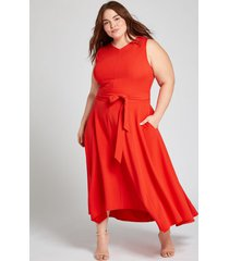 lane bryant women's red high-low lena dress 14 flame scarlet