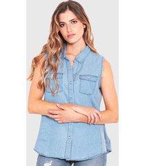 blusa wados s/m denim azul - calce regular