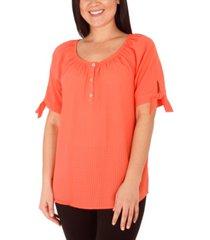women's short sleeve elastic neck henley blouse