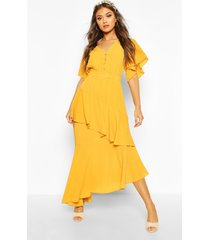 angel sleeve tiered maxi dress, mustard