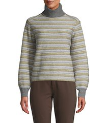 fair isle striped turtleneck sweater