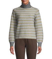 fair isle striped turtleneck sweater