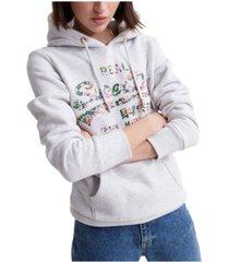 superdry vintage inspired logo gloss floral sweatshirt