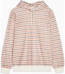 mens cream ecru and orange hoodie
