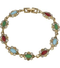 2028 women's gold tone multi color stone link bracelet