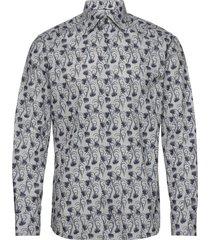grey floral flannel shirt skjorta casual blå eton