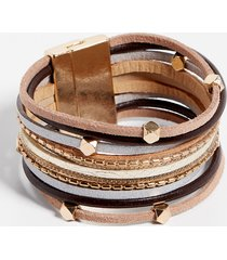 maurices womens brown & gold multi row magnetic bracelet