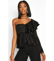 ruffle one shoulder peplum top, black