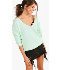 oversized v neck sweater, mint