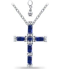giani bernini simulated blue sapphire and cubic zirconia cross pendant