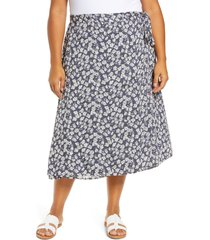 plus size women's caslon faux wrap midi skirt