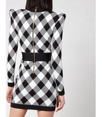 balmain women's short long sleeve lace up gingham jacquard dress - noir/blanc - fr 40/uk 12
