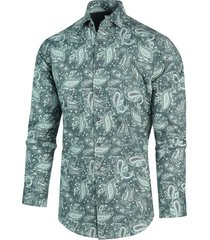blue industry heren overhemd paisley print perfect fit