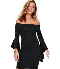 vestido racy modas curto tubinho com manga flare gola alta e costas nua preto