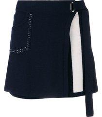 barrie cosmopolitan cashmere wrap skirt - blue