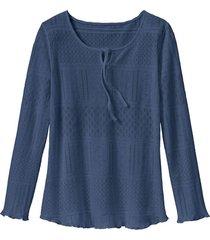 feminien ajour-shirt met druppelhals, rookblauw 44/46