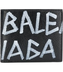 balenciaga graffiti square wallet - black