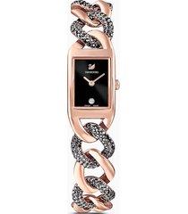 orologio cocktail, bracciale di metallo, nero, pvd oro rosa