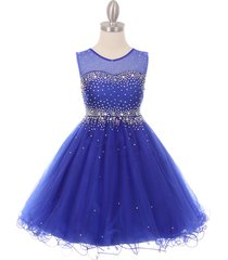 royal blue short length sparkling hand bead rhinestones on illusion tulle dress