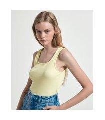 blusa regata canelada em algodão com decote quadrado | blue steel | amarelo | g