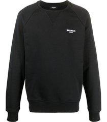 balmain logo-print long-sleeve sweatshirt