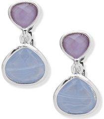 anne klein silver-tone stone clip-on drop earrings
