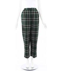 rosie assoulin wowzer green plaid straight leg pants black/green sz: m