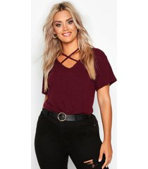 plus cross front strap ribbed t-shirt, berry