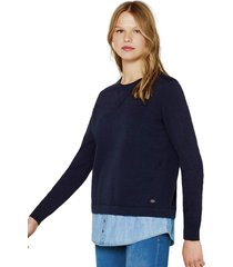 sweater 2 en 1, 100 % algodón azul esprit